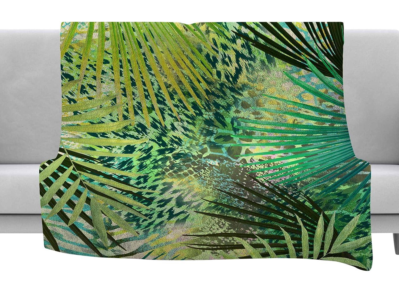 80 x 60 Fleece Blanket Kess InHouse Victoria Krupp Animal Jungles Green Teal Digital Throw
