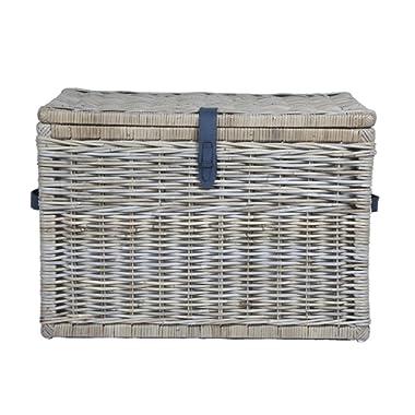The Basket Lady Deep Wicker Storage Trunk, X-Large, 30 in L x 21 in W x 20.5 in H, Serene Grey