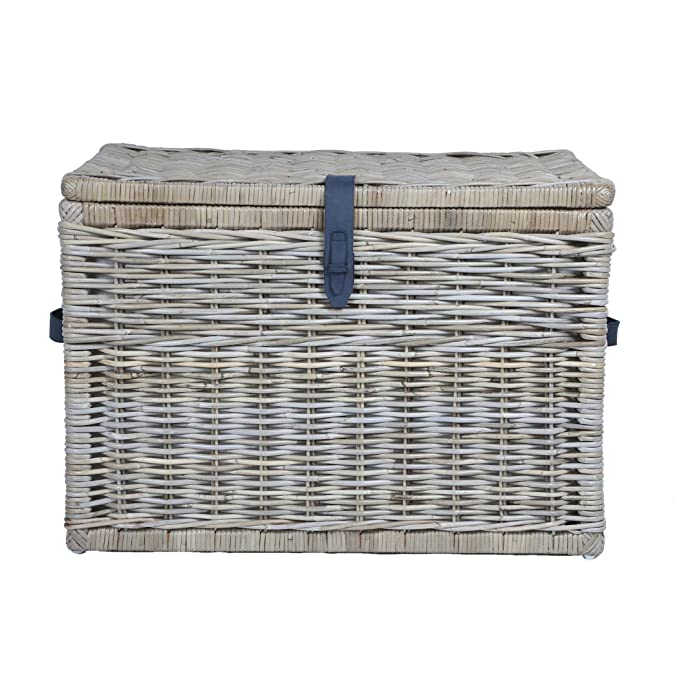 The Basket Lady Deep Wicker Storage Trunk | Wicker Storage Chest, XL, Serene Grey