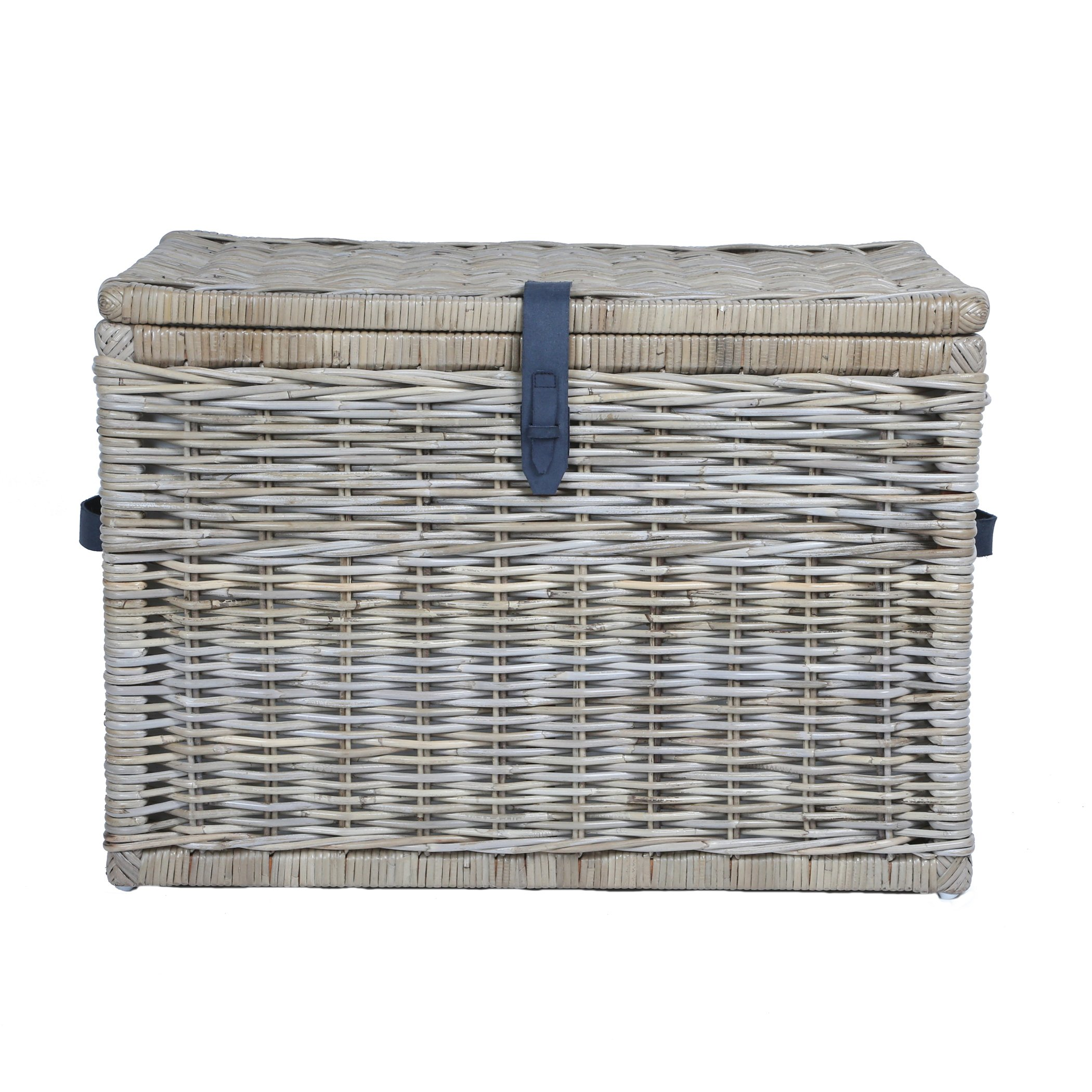 The Basket Lady Deep Wicker Storage Trunk   Wicker Storage Chest, XL, Serene Grey