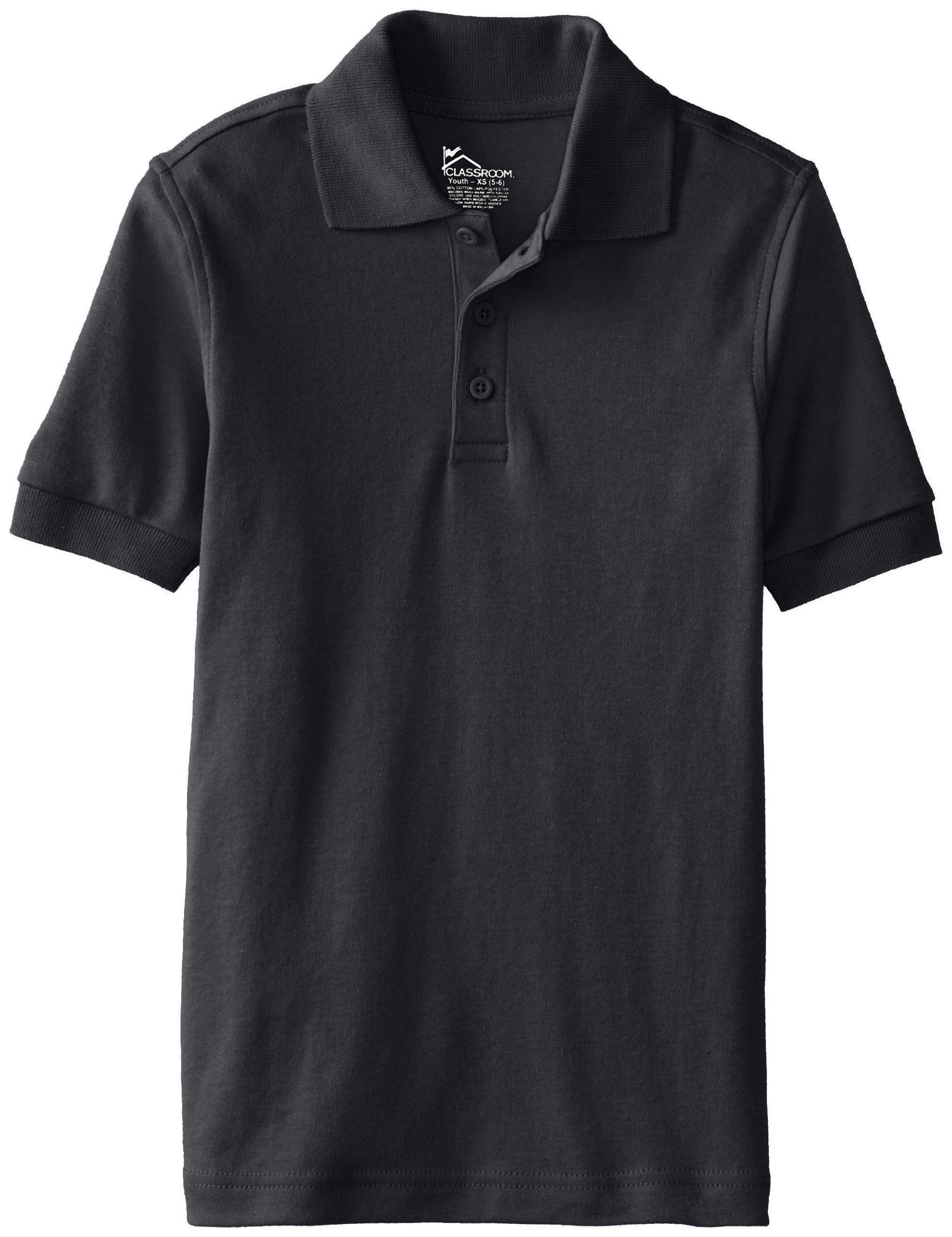 CLASSROOM Little Boys' Uniform Short Sleeve Interlock Polo, Black, Small