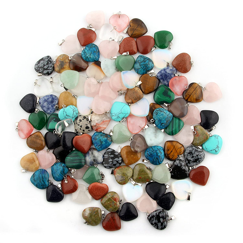20pcs Heart Shape Healing Crystal Stone Chakra Quartz DIY Stone Random Color Gemstone Pendants for Necklace Earring Jewelry Making Cmidy Heart20
