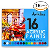 Artellius Acrylic Paint SET (16 INDIVIDUAL COLORS) - Non Toxic Formula - Great for Kids, Beginners, & Professional Painters - Paints on Canvas, Nail Art, Ceramics, Fabric, Clay, & More!