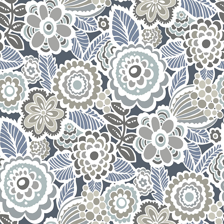 NuWallpaper NUS3160 Dream On Navy Peel & Stick Wallpaper, Blue