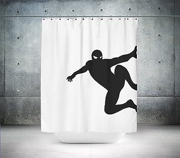 Silueta de Spiderman Custom diseñado & impreso cortina de ducha, cortina de baño, 100