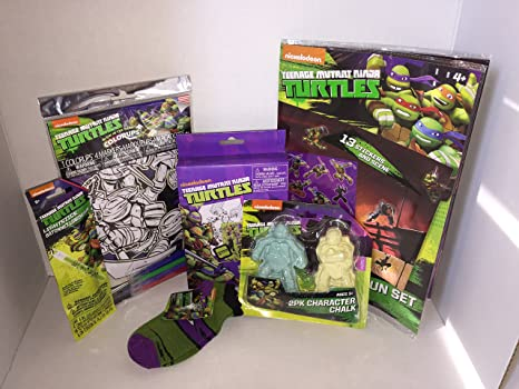 Teenage mutant Ninja Turtle 6 Piece Bundle Includes Glow in the Dark Colorups, Chalk,