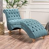 Bellanca Fabric Tufted Chaise Lounge Chair (Dark Teal)