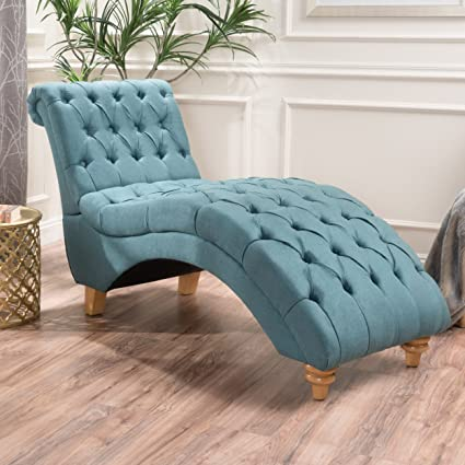 Incroyable Bellanca Fabric Tufted Chaise Lounge Chair (Dark Teal)