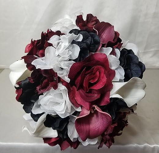 Amazon.com: Burgundy Black White Rose Calla Lily Bridal Wedding ...