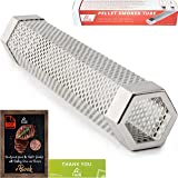 """LIZZQ Premium Pellet Smoker Tube 12"""" - 5 Hours of Billowing Smoke - for Any Grill or Smoker, Hot or Cold Smoking - Easy, Safety and Tasty Smoking - Free eBook Grilling Ideas and Recipes"""