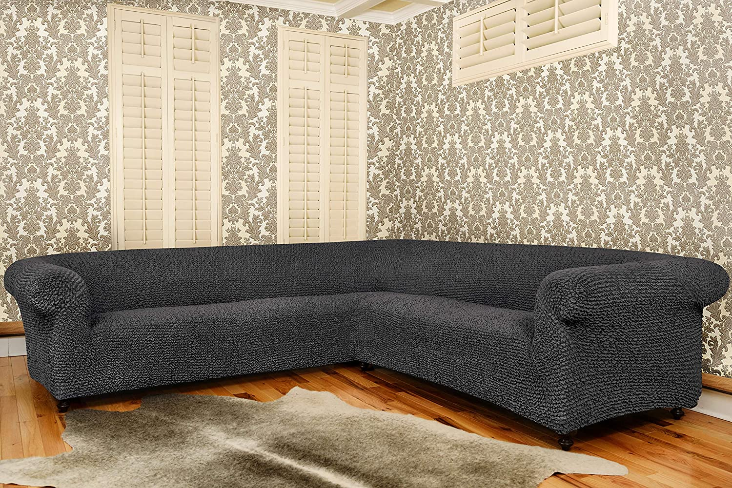 Sectional Sofa Cover - Corner Couch Cover - Corner Slipcover - Soft Polyester Fabric Slipcovers - 1-piece Form Fit Stretch Furniture Slipcover - ...