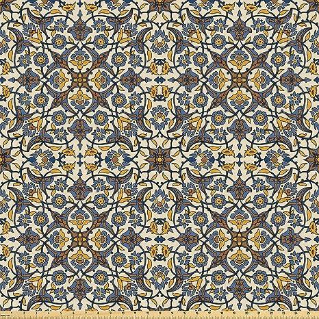 Ambesonne tela de patrón turco por el patio, flores y estilo ...