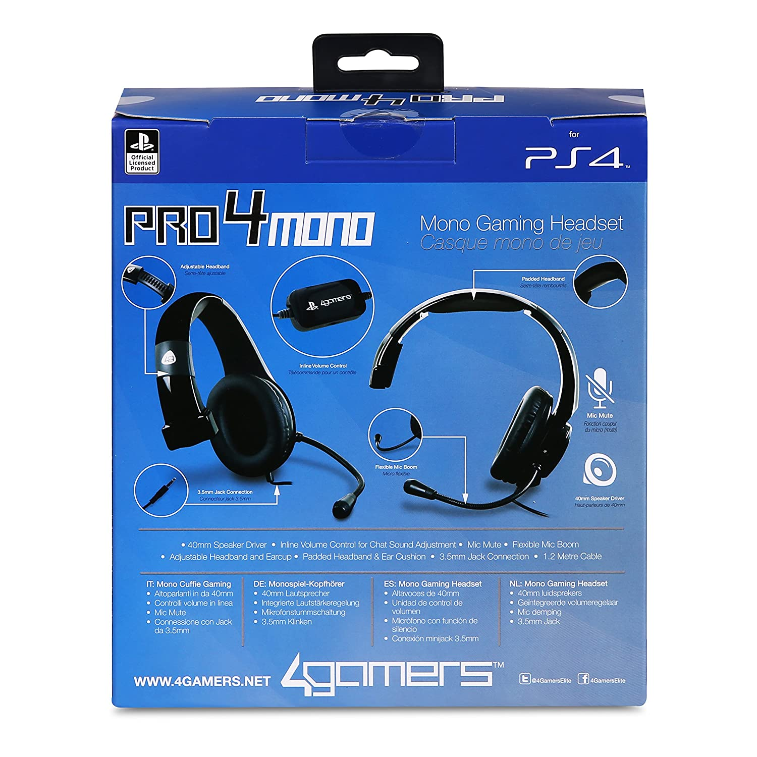Playstation 4 Officially Licensed Pro4 Mono Gaming Headset Ps4 Headphone Jack Wiring Pc Video Games