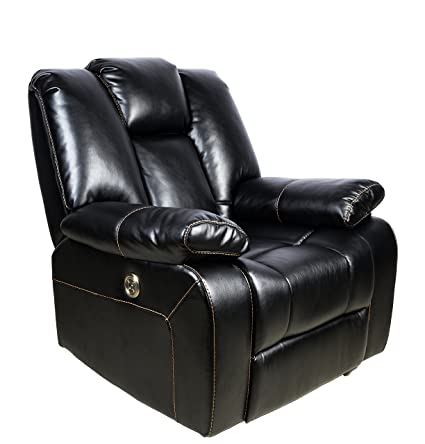 Ordinaire Power Recliner With USB Port, Adjustable Headrest,Leather Reclining Chair ,BLACK