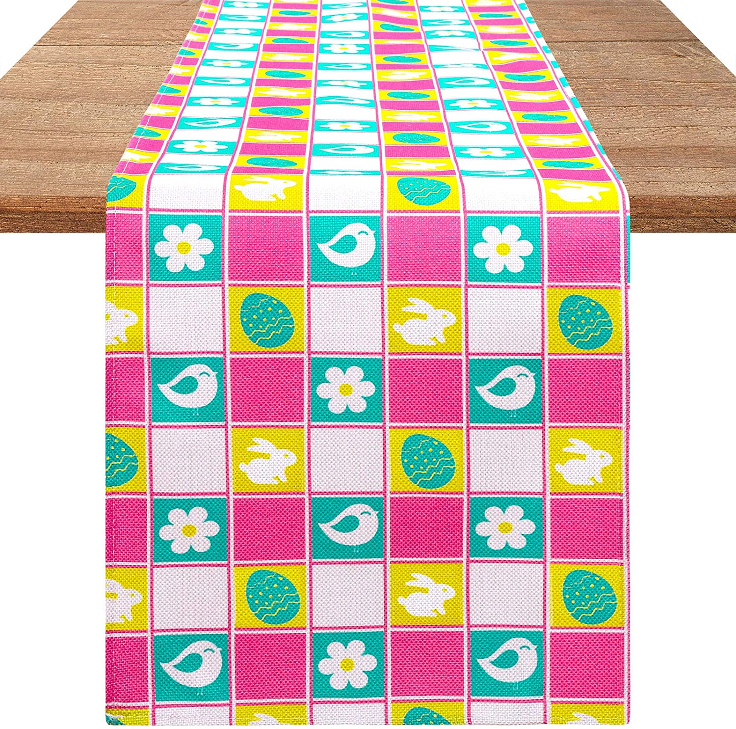 Aneco Easter Table Runner Cotton Linen Plaid Spring Table Runner Rabbit Easter Egg Table Runner for Easter Table Decor, 12 x 71 Inches