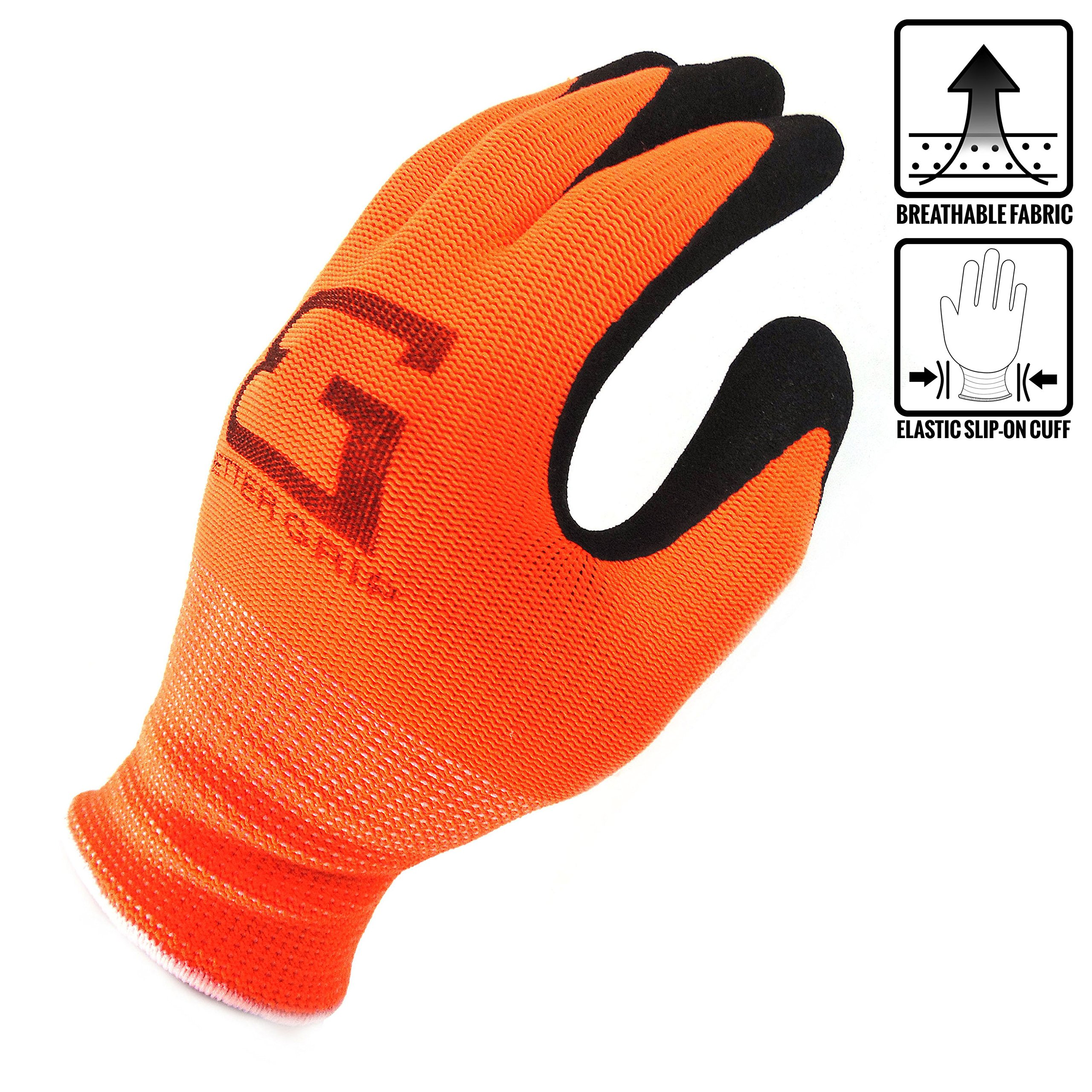 (Box Deal) BGS-OR-7S-CS, Better Grip Nylon Sandy Latex Coated Work Gloves, 144 Pairs/CS (Small, Hi-Vis Orange) by Better Grip