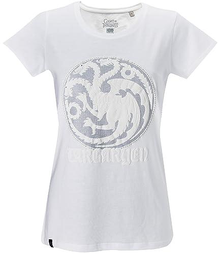 GOZOO Game of Thrones Camiseta Mujer Winds of Winter - House Targaryen Blanco
