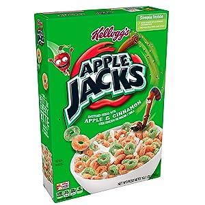 Kellogg's Apple Jacks, Breakfast Cereal, Original, Good Source of Fiber, 10.1 oz Box