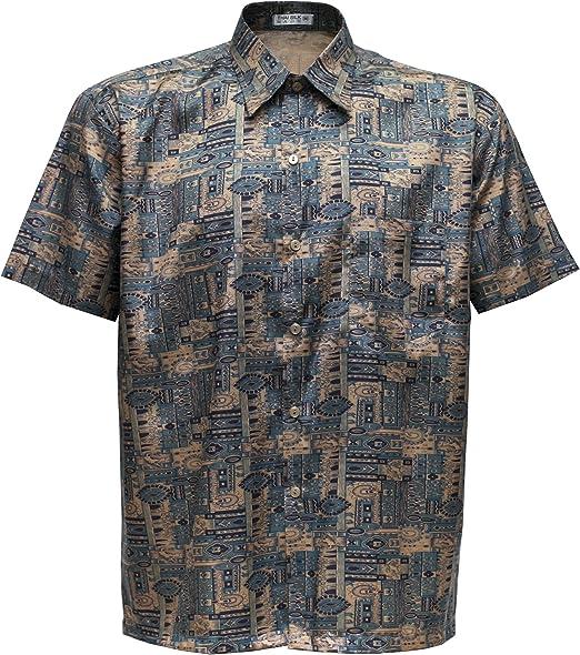 Camisa de manga corta para hombre, de seda tailandesa con ...