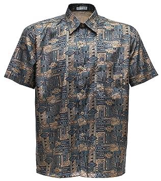 Camiseta para hombre de manga corta de seda tailandesa estampado Paisley marrón, marrón, xxx