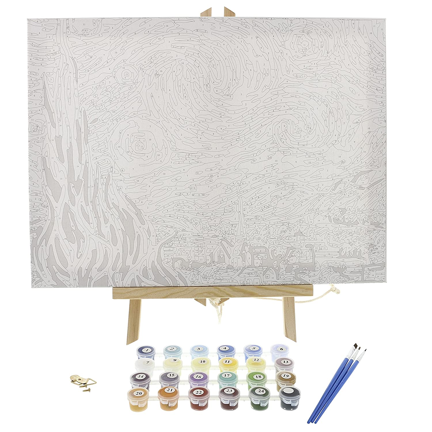 """Paint by Numbers for Adults DIY Full Set of Assorted Color Oil Painting Kit and Brush Accessories Framed Canvas and Wooden Easel Stand Van Gogh The Starry Night 12/""""x16 Replica"""