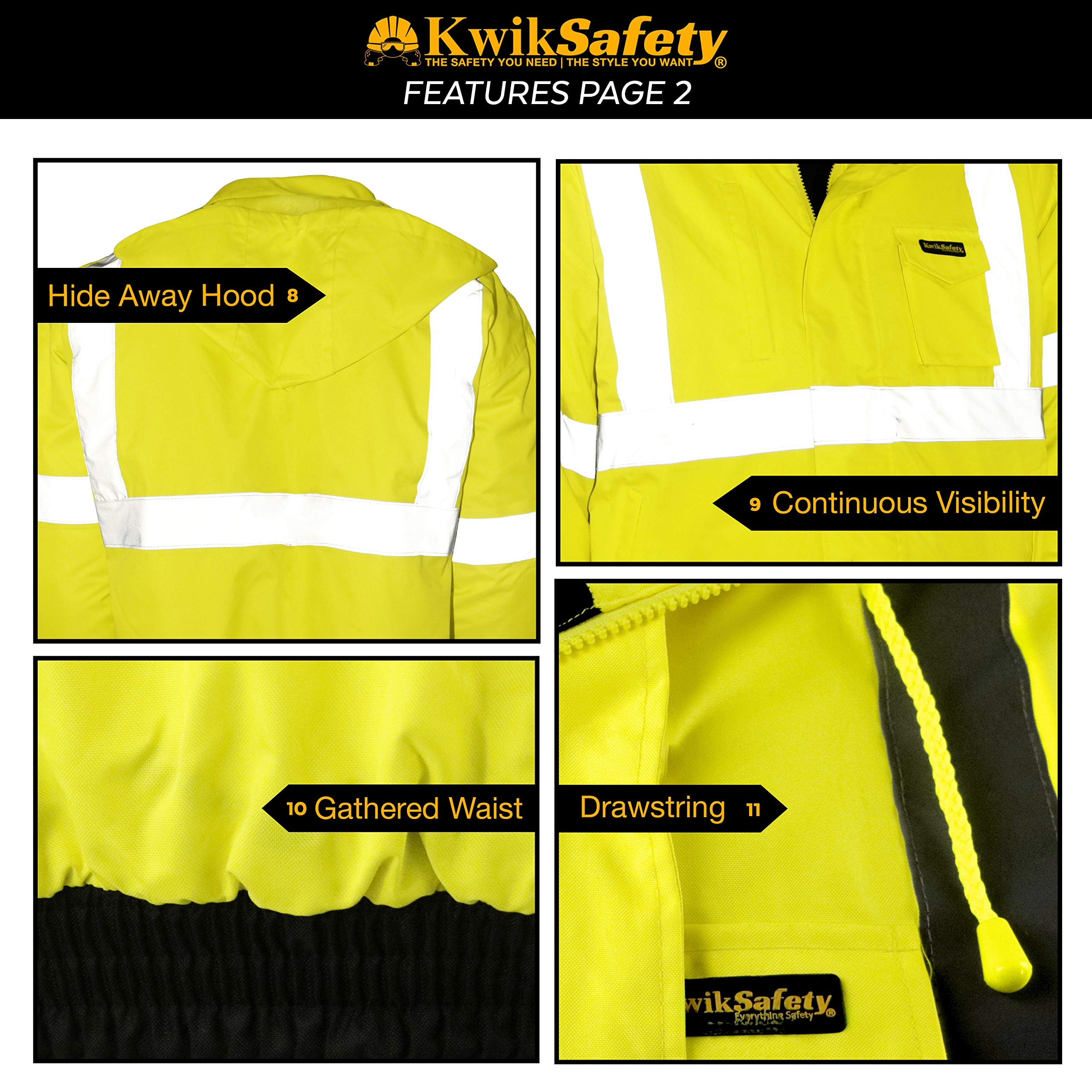 KwikSafety (Charlotte, NC) GUARD   Class 3 Black Cuff Safety Bomber Jacket   High Visibility ANSI OSHA PPE   Foldable Hood Reflective Winter Water Resistant Construction Workwear Men   X-Large by KwikSafety (Image #5)