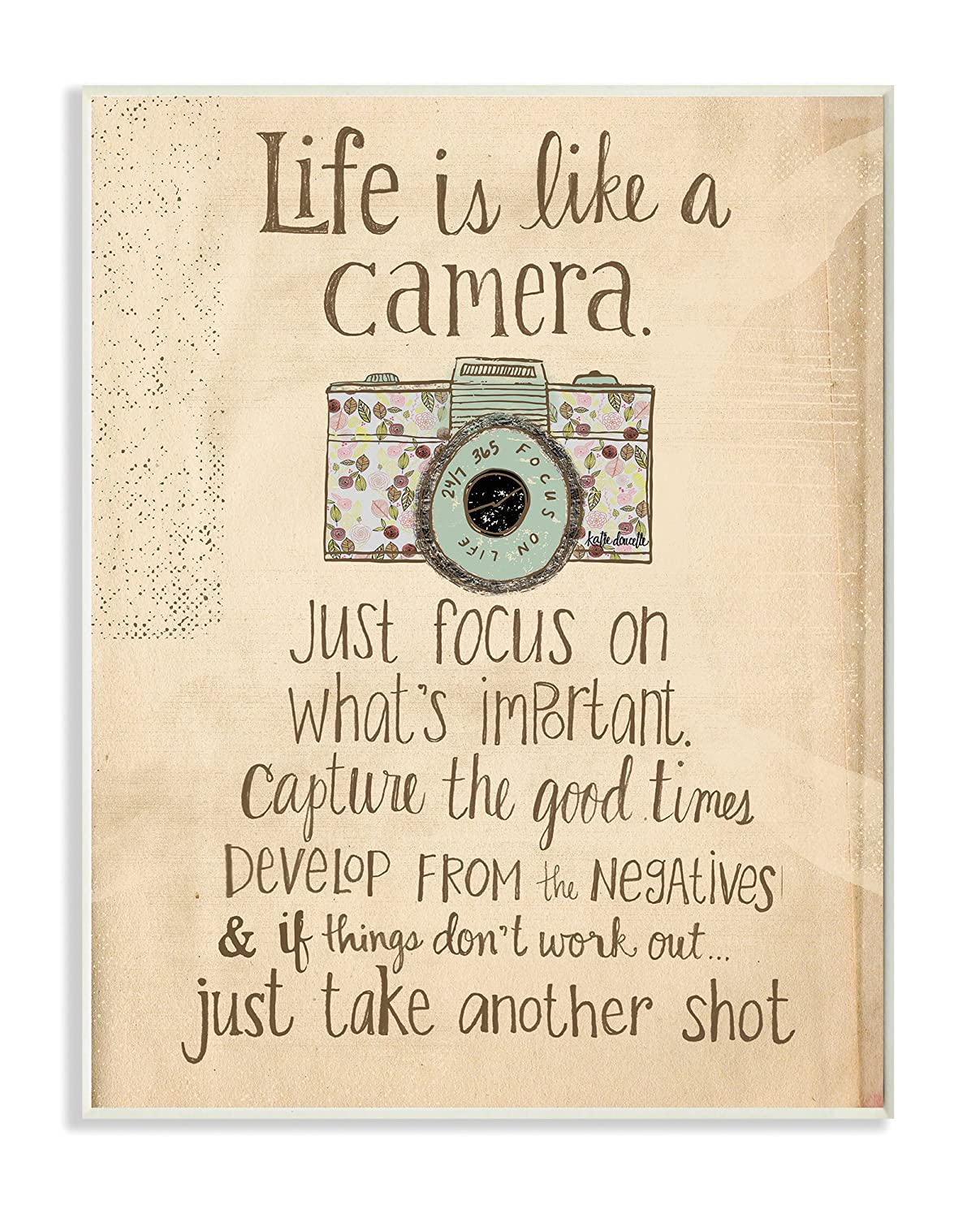 Life is Like a Camera Inspirational Art Wall Plaque