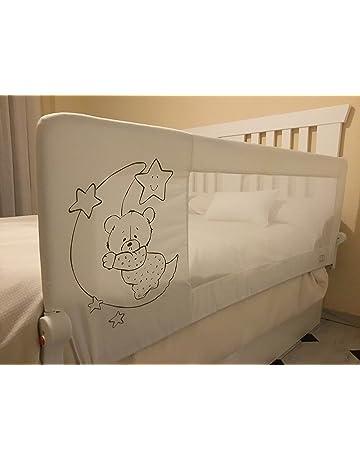 Barrera de cama para bebé, 180 x 66 cm. Modelo osito y luna gris