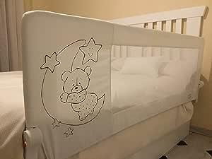 Barrera de cama para bebé, 180 x 66 cm. Modelo osito y luna gris. Barrera de seguridad.para bebes.