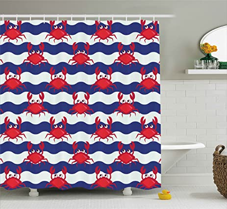 Crabs Decor Shower Curtain By Ambesonne, Nautical Theme Cute Crabs On The  Striped Background Illustration