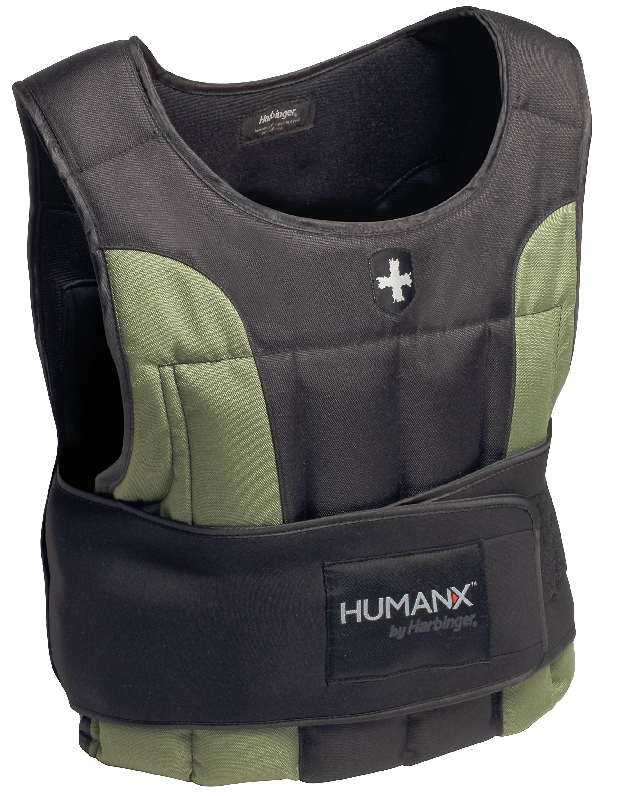 Harbinger HumanX 20-Pound Weight Vest, One Size, Black/Green by Harbinger
