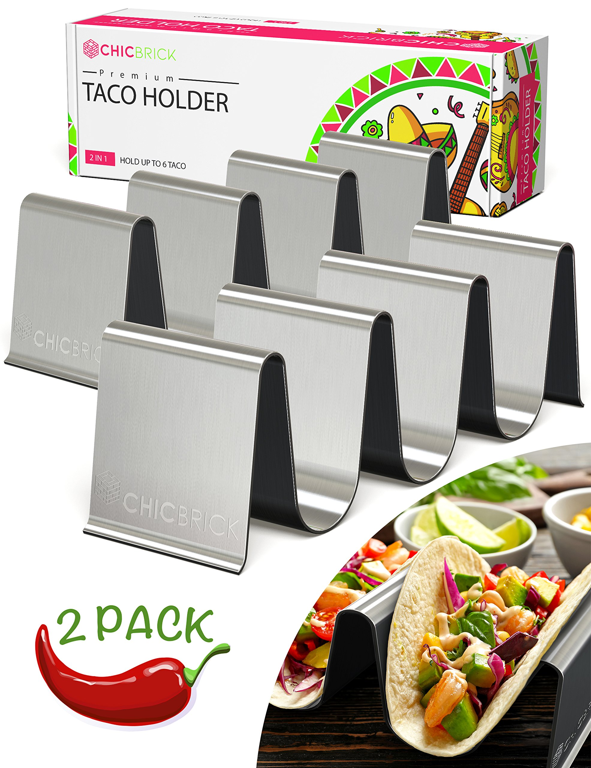 Taco Holder Stainless Steel Tray - Set of 2 Taco Stand, Ideal for Taco Tuesday & Kids Party Oven Baking, Dishwasher and Grill Safe - Tortilla Rack, Taco Stand Up Plate Truck Style, Restaurant and Home by ChicBrick