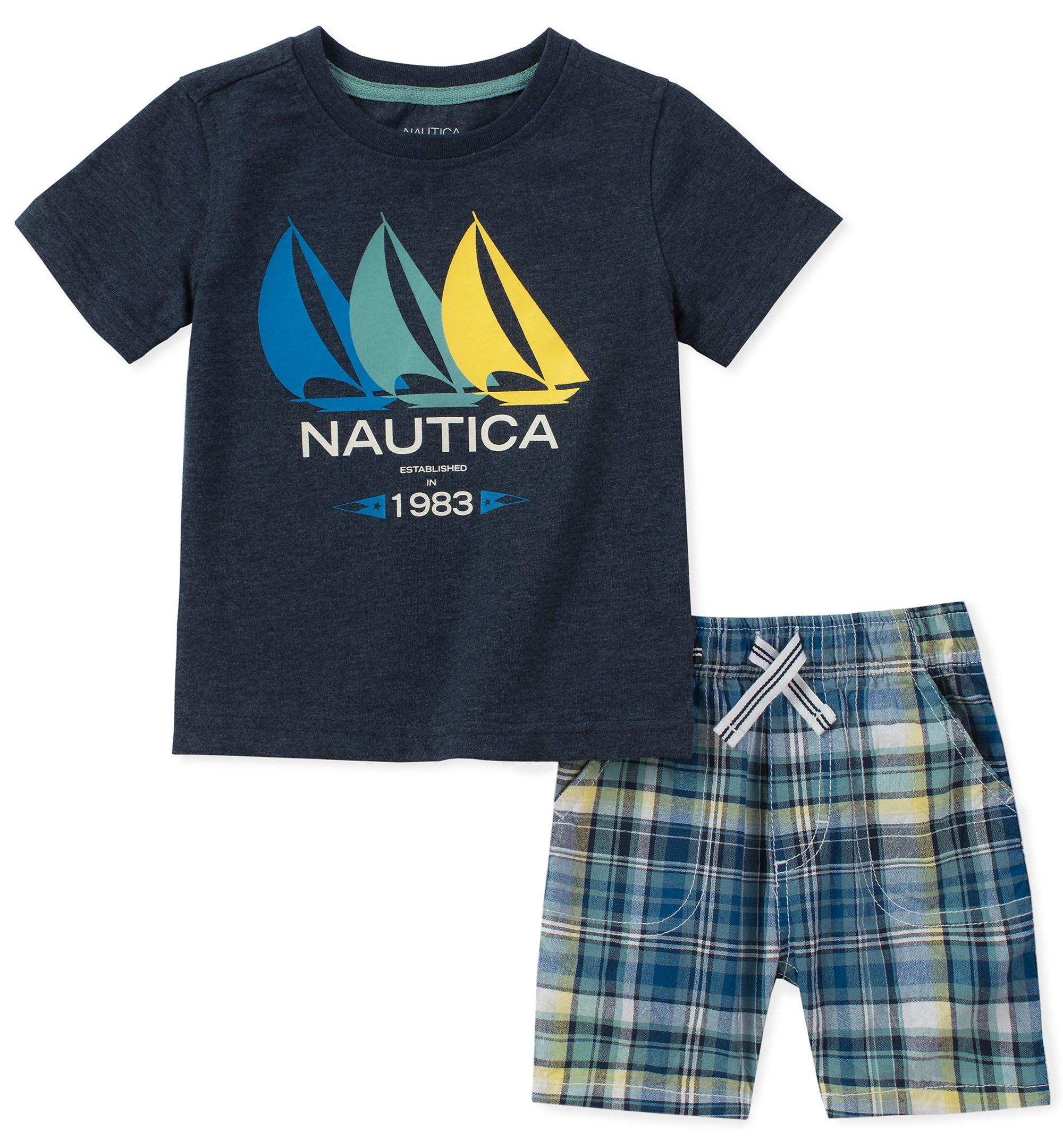 Nautica Little Boys' Tee with Shorts, Navy, 6