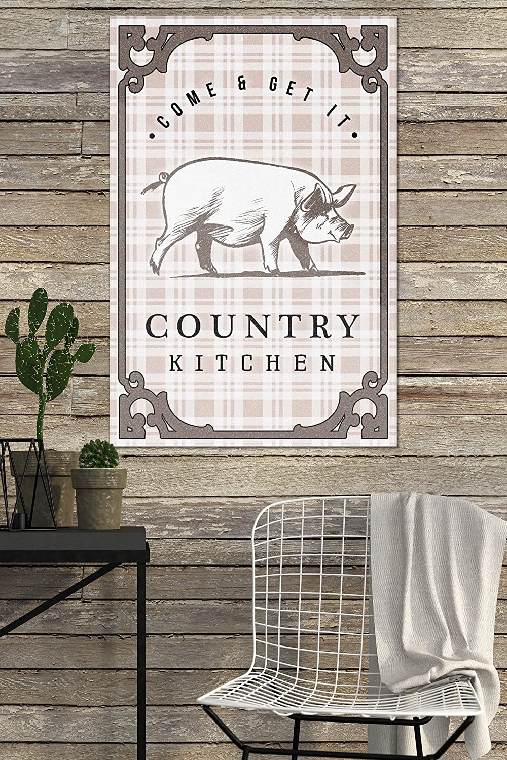 Pig on Plaid 16x24 Acrylic Wall Art Gallery Quality Country Kitchen
