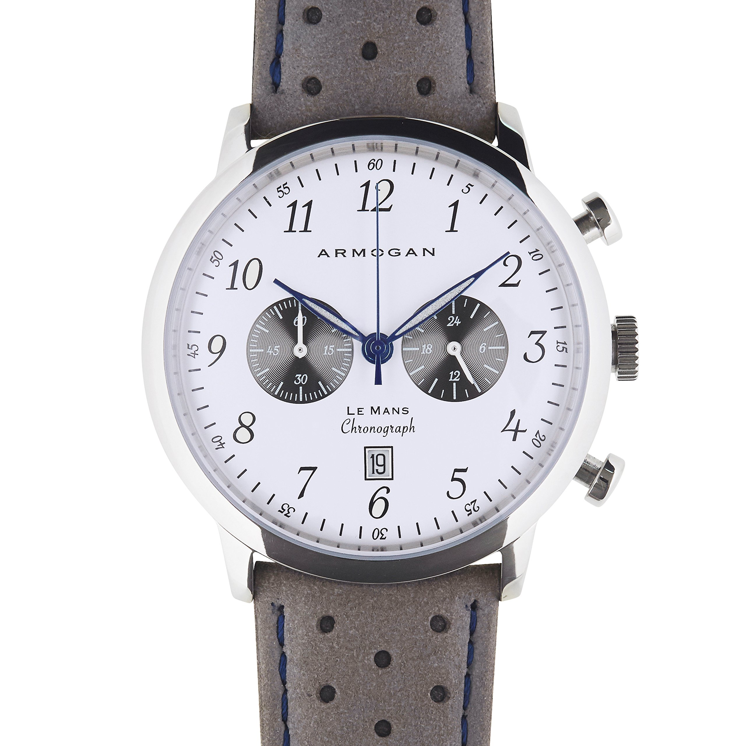 Armogan Le Mans - Moon White C90 - Men's Chronograph Watch - Perfored Suede Leather Strap