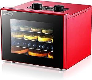 Electric Countertop Food Dehydrator Machine - 350-Watt Premium Multi-Tier Meat Beef Jerky Maker Fruit/Vegetable Dryer w/ 4 Stainless Steel Trays, Digital Timer, Temperature Control - NutriChef NCDH4S