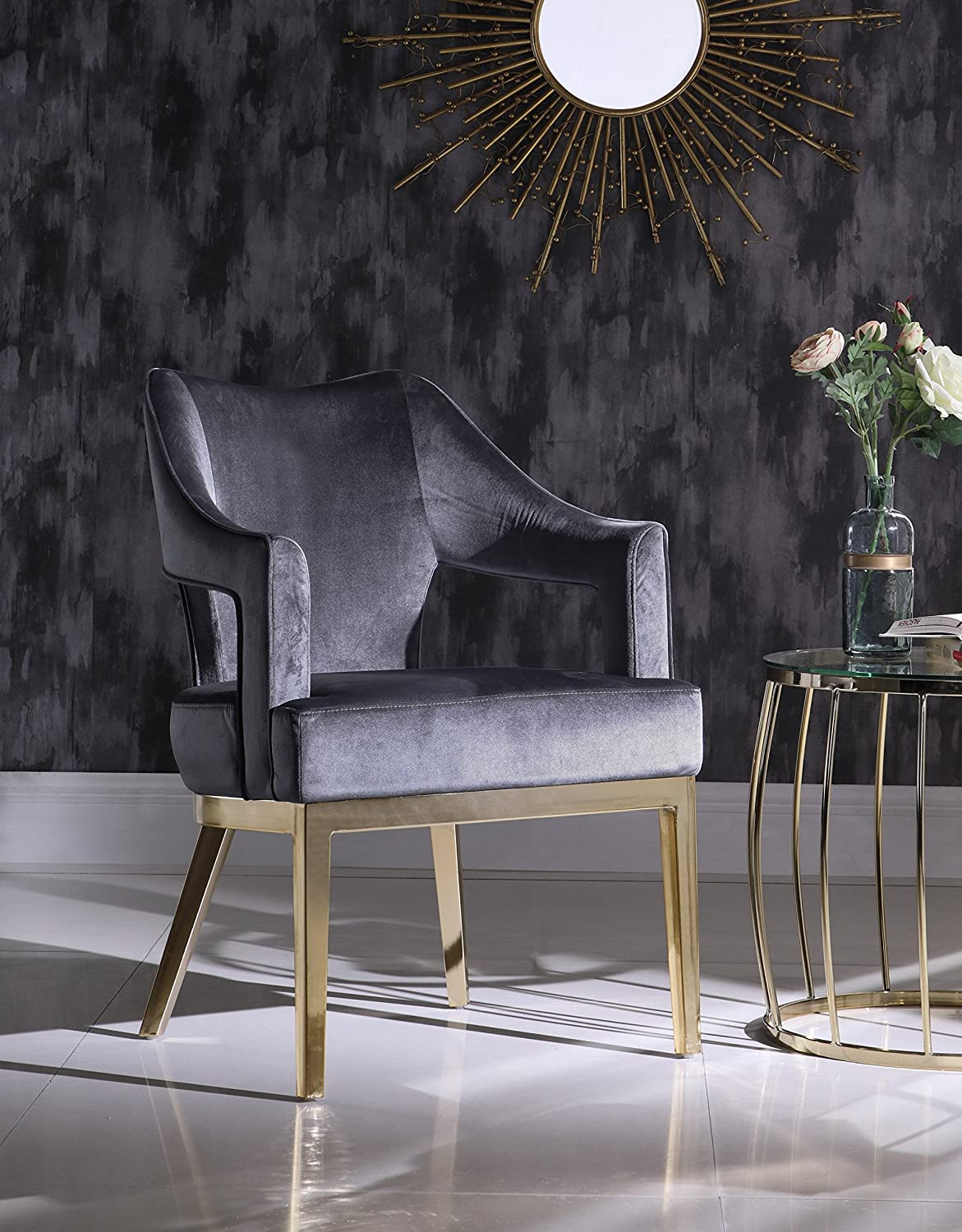 Iconic Home Gourdon Accent Chair Plush Velvet Upholstered Swoop Arm Gold Tone Solid Metal Legs Modern Contemporary, Grey