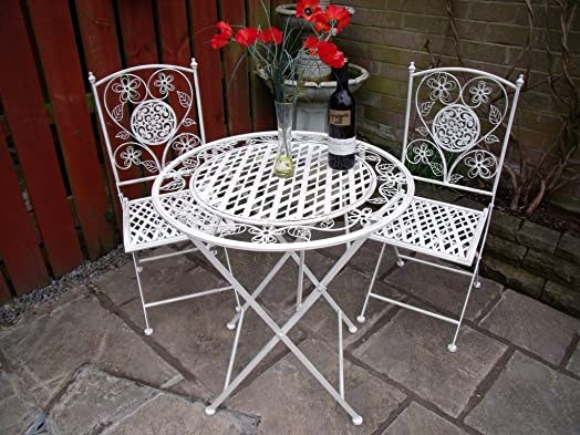 garden furniture bistro set table and chairs patio shabby chic style white