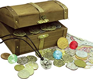 product image for Kid's Treasure Chest with Replica Pirate Coins/Foreign Coins/Gems/Necklace Coin Jewelry