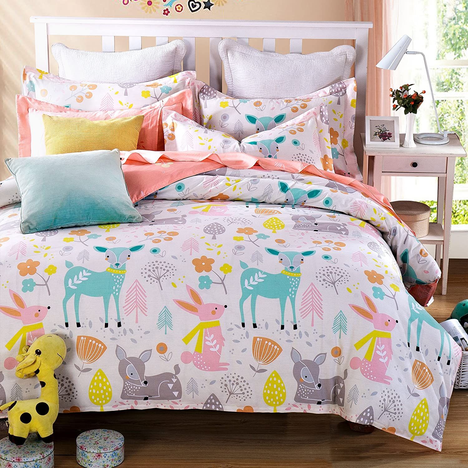 Cliab 7 Pieces Natural Cotton Woodland Themed Duvet Cover Set Plant and Animal in Peace Design Bedding Set Rabbit and Deer Friendship Duvet Covert Jungle Friends Bed Set for Kids Full Size