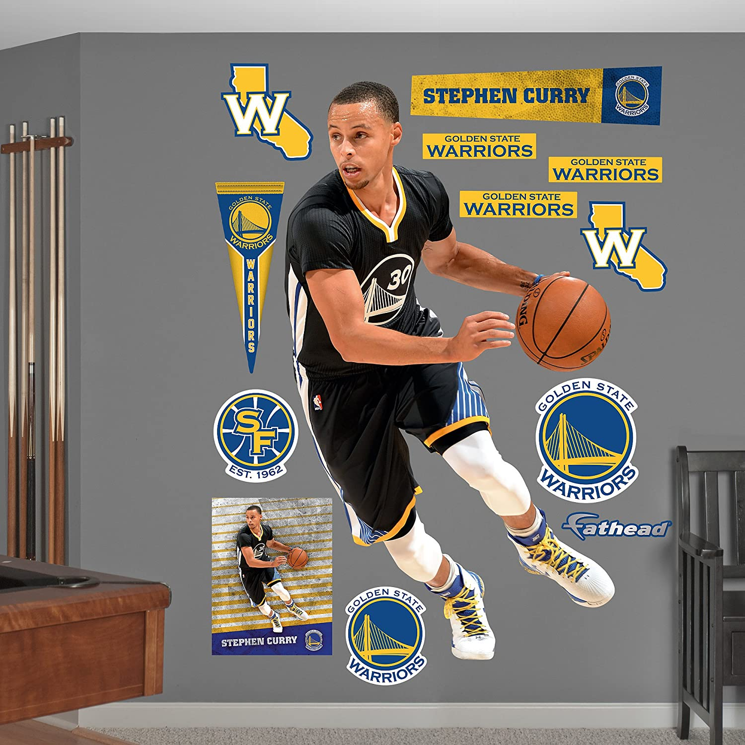 Amazon.com : NBA Golden State Warriors Stephen Curry Point Guard Fathead  Real Big Decals, 43
