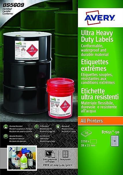 Avery España B7651-50 - Etiquetas blancas resistentes al agua, imprimibles 38x21mm Caja de 3250 etiquetas: Amazon.es: Oficina y papelería