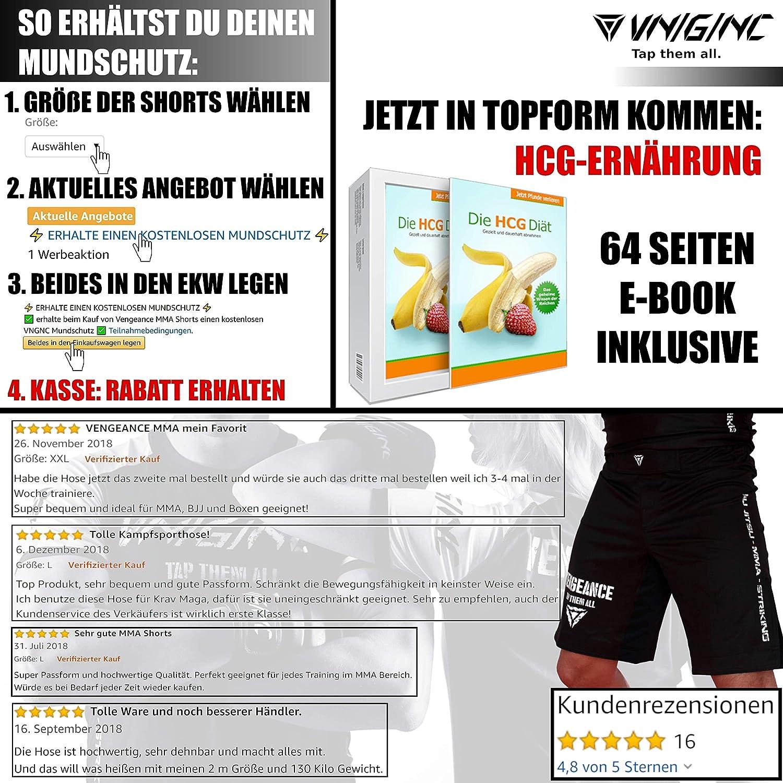 Werbeaktion Kickboxen Boxen 4XL MMA Kurze Hose HCG-Di/ät Vengeance Premium Shorts | + E-Book Herren /& Damen Fitness BJJ Kampfsport Krav MAGA | XS GRATIS MUNDSCHUTZ