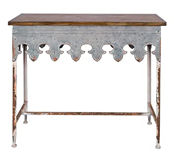 Superior Creative Co Op Metal Scalloped Edge Table With Zinc Finish And Wood Top