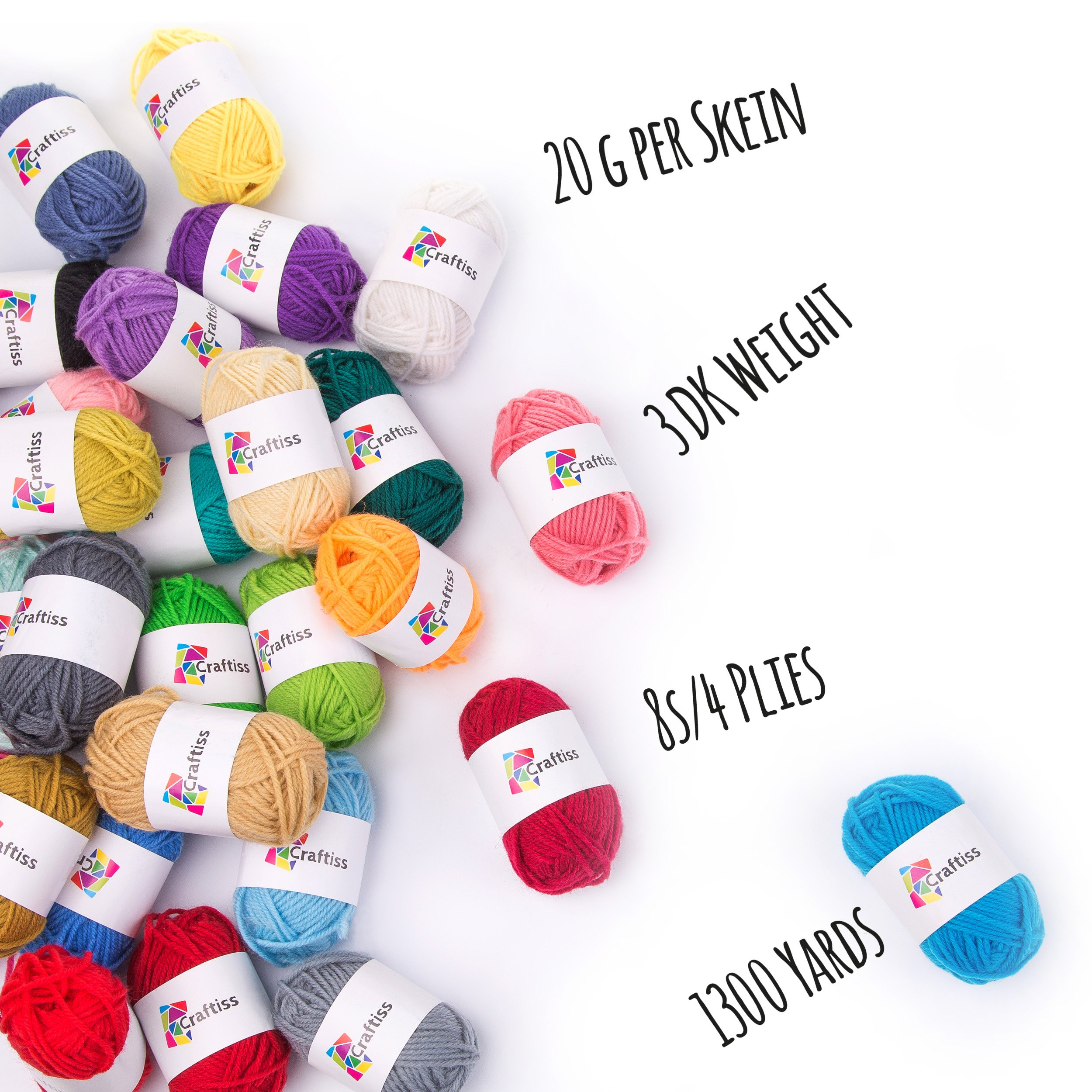 Craftiss 30 Unique Colors Acrylic Yarn Skeins ~ Bulk Yarn Kit ~ 1300 yards ~ Perfect for Any Knitting and Crochet Mini Project by Craftiss (Image #3)