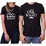 WhyKiki Mr Right Mrs Always Right King Queen T-Shirt Partnerlook Coppia Imposta Dolce per Le Coppie Come Regali