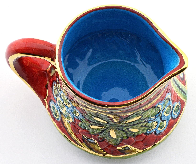 Art Escudellers LECHERA Ceramica Pintada a Mano con Oro de 24K, Decorado al Estilo BIZANTINO Rojo. 11cm x 9cm x 8cm: Amazon.es: Hogar