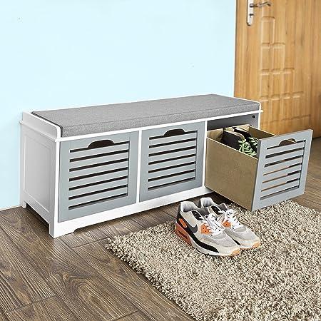 SoBuy Modern Wood Shoe Bench Storage Unit With 3 Baskets Bench, Shoe Storage  Bench With