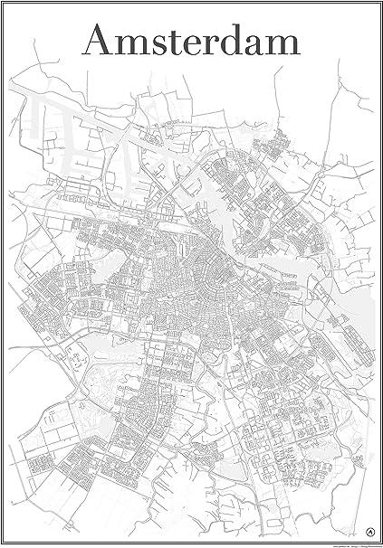 Amsterdam – Mapa de la ciudad Red de carreteras Mostrar estructura Única (60 cm x 84 cm) Art impresión de Amsterdam Países Bajos Holland: Amazon.es: Hogar