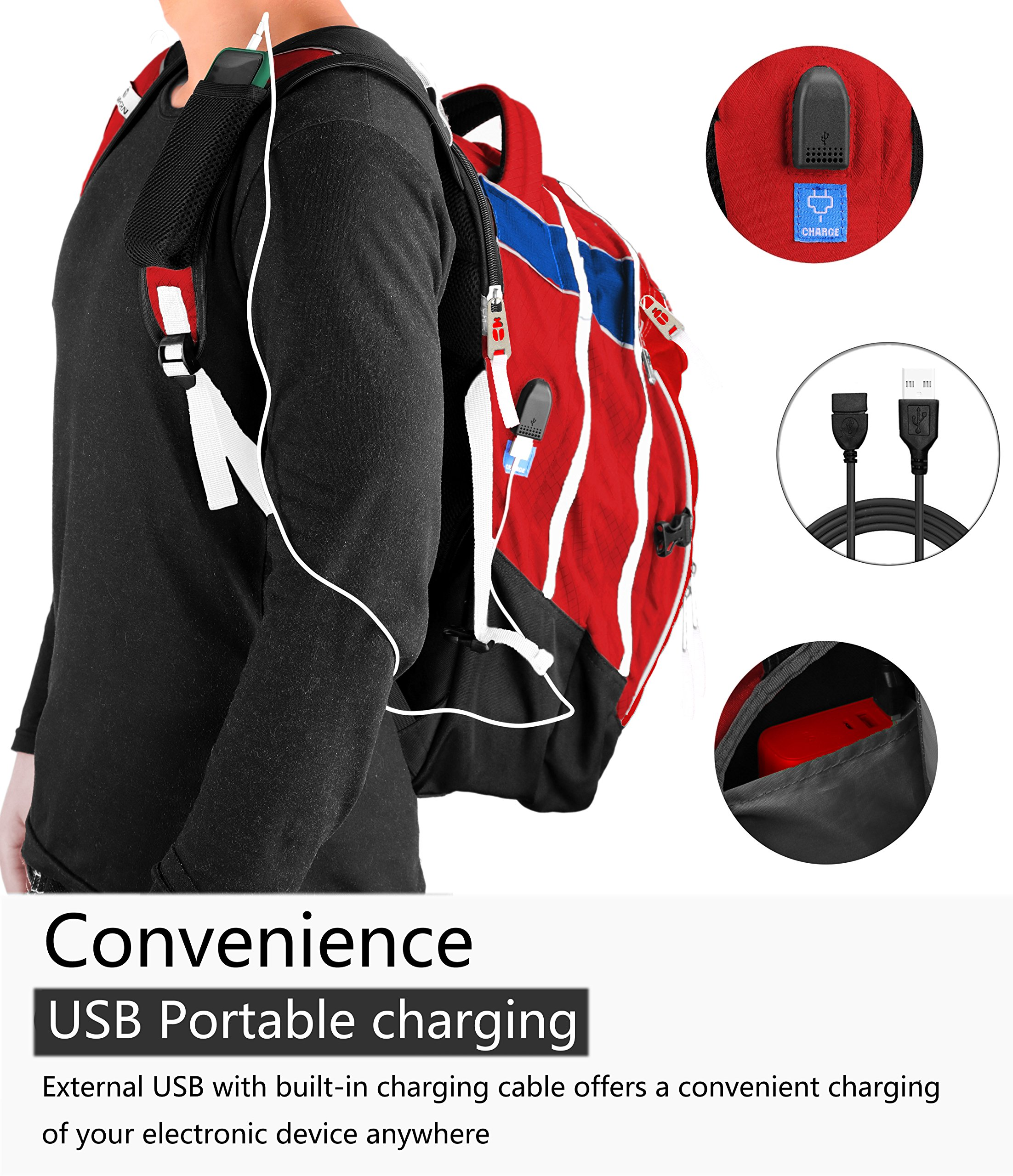 Laptop Backpack 15.6-Inch Business College Travel Computer Bag for Surface Water-Resistant Waterproof USB Charging Port Slim Light Weight Reflective Strip Rain Cover Large Capacity by Ramhorn(warmred) by Ramhorn (Image #3)